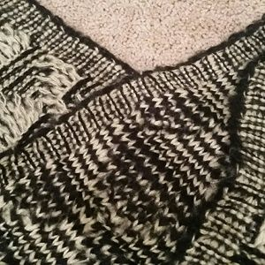 Black and Grey Knit Inifinity Scarf